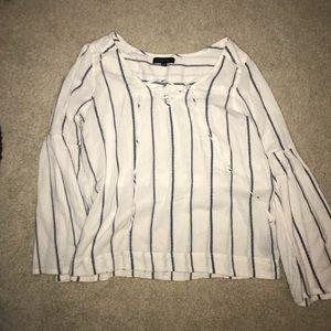 Navy & White Bell Bottom Sleeve Shirt - Size S
